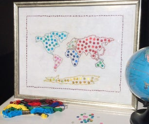 Hand Embroidered World Map