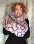 Reversible Carved Faux Fur Cowl/Hood With Muff