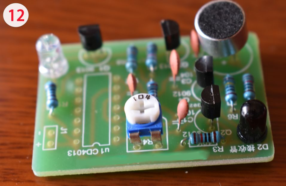 Picture of Solder the Potentiometer and Mini Microphone to the PCB