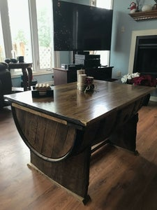 Rustic Wine Barrel Table and Storage