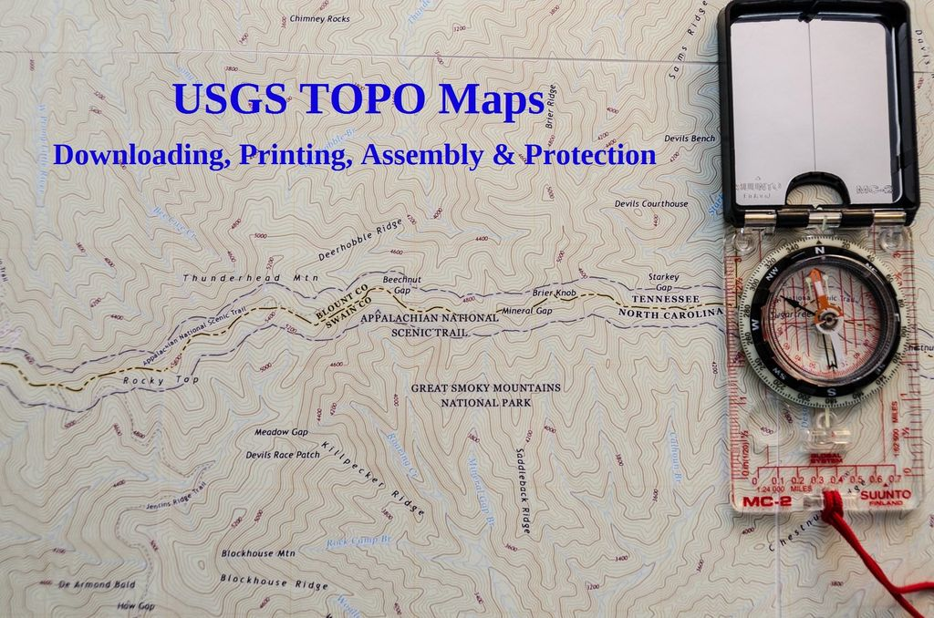 Picture of USGS TOPO Maps - Downloading, Printing, Assembly & Protection