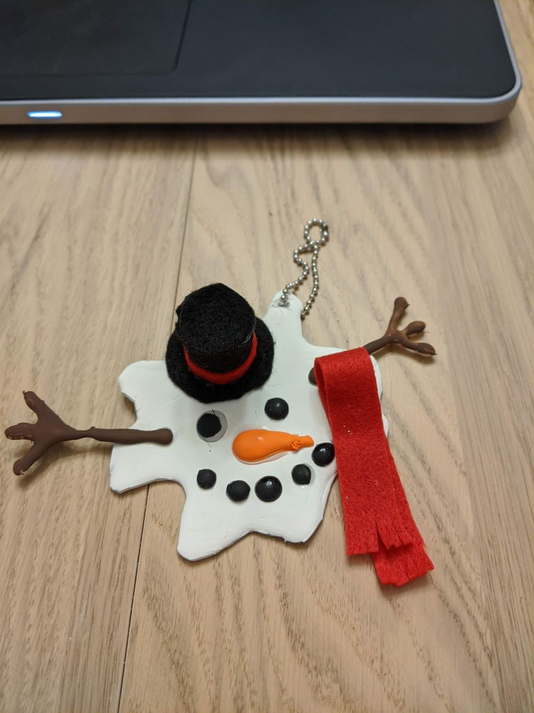 Picture of Melted Snowman Ornament With Hot Glue
