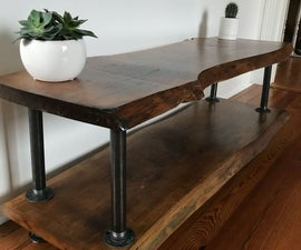Live Edge Oak TV Console With Iron Pipe Legs