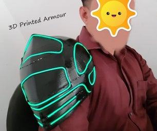 3D Printed Shoulder Armour EL Wire Integration