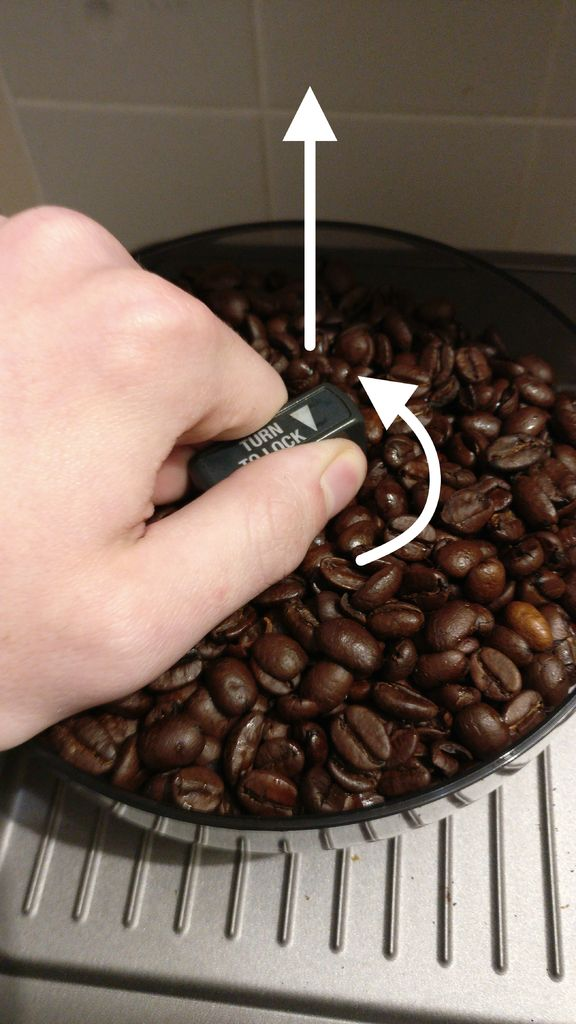 Picture of Remove the Bean Hopper and Set the Grinder to the Coarsest Setting.
