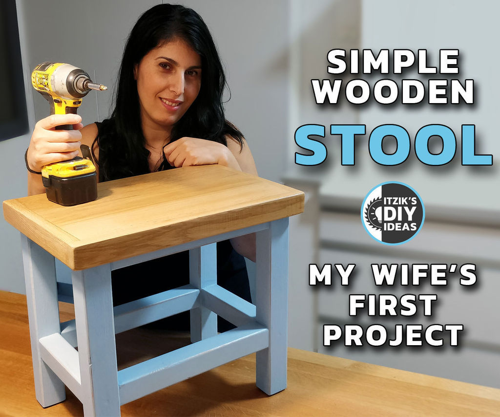 Simple Wooden Stool - My Wife's First Project   Surprise DIY Woodworking Workshop