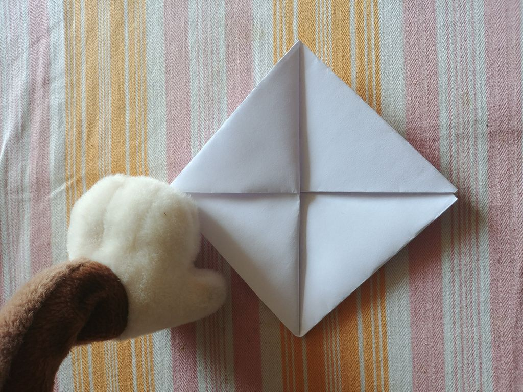 Picture of Fold the Bottom Edges Upwards, Creating a Triangle.