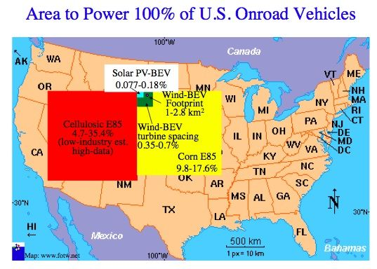 Picture of Land Area Rrequired to Power 100% of US Onroad Vehicles