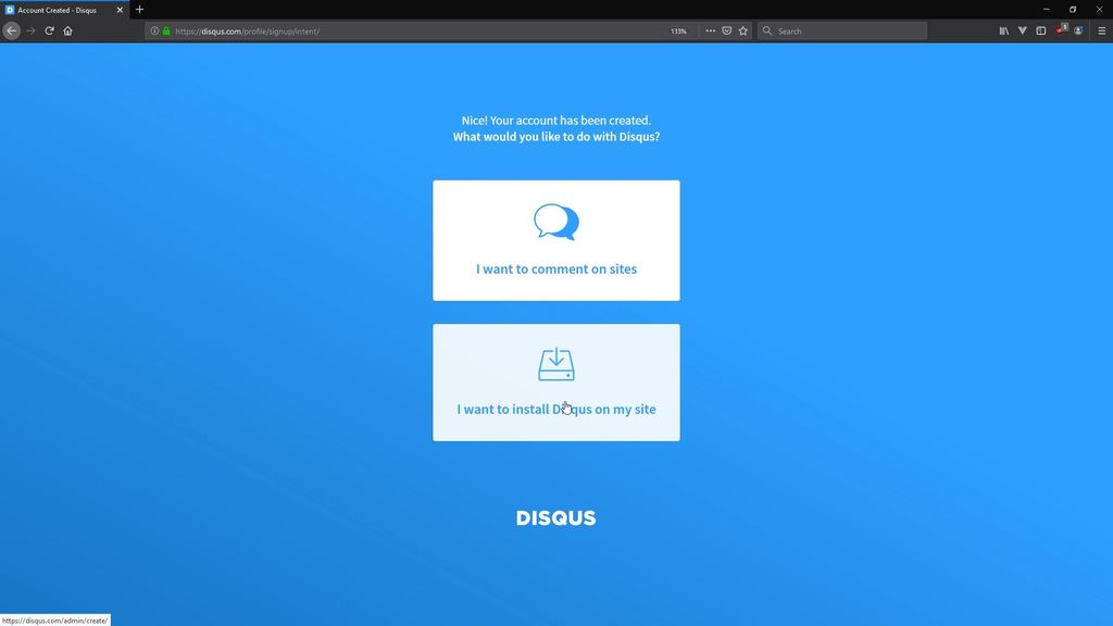Picture of Setup Disqus Account and Site