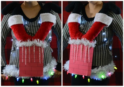 Santa Stuck in Chimney Ugly Sweater