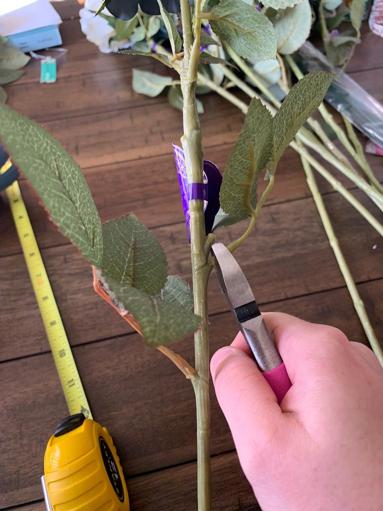 Picture of Trimming Stems, Adding Wire, and Trimming Off Leaves