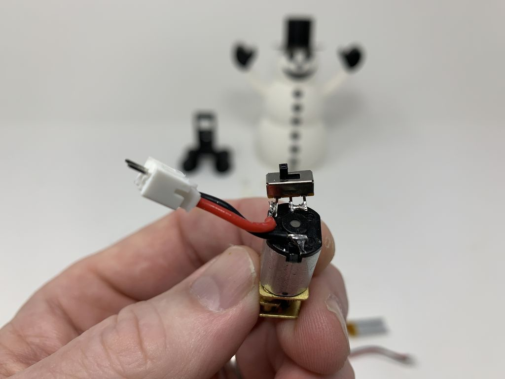 Picture of Wire the Snowman Motor, Switch and JST Connector.