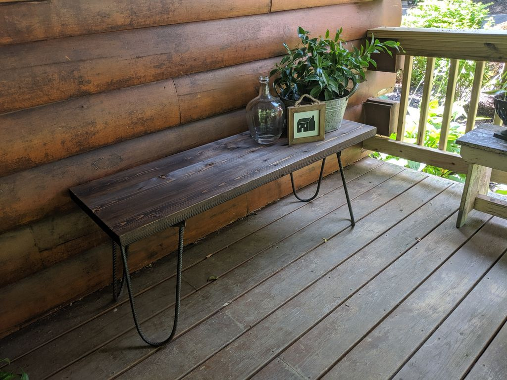 Picture of Rustic Industrial Hairpin Bench