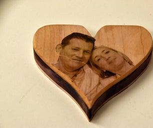 PHOTO ON WOOD HEART