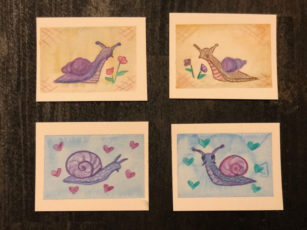 Picture of Mixed Media Watercolor/Prismacolor Snails