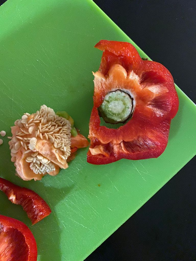 Picture of Finely Chop Red Pepper and Reserve the Stem