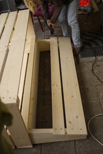 Picture of Put Together the Seat Back: Screw the Seat Back Slats In.