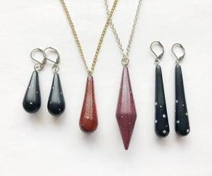 Metal-Embedded Wood Jewelry