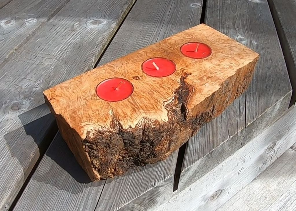Picture of Live Edge Maple Burl Tea Light Candle Holder