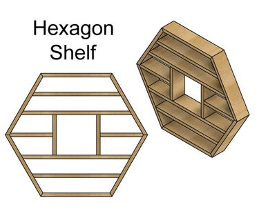 Hexagon Shelf With Inner Sections