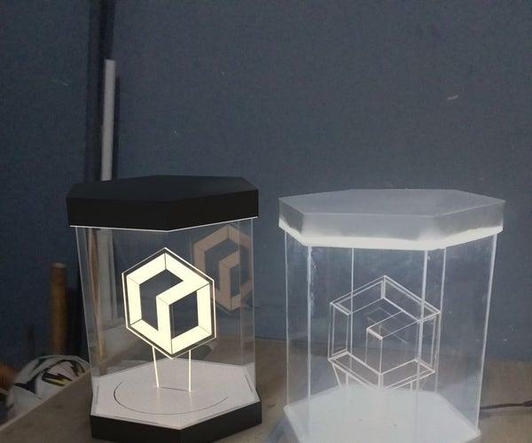 Glow K3D 2.0 Logo in Glowing Hexagon Case