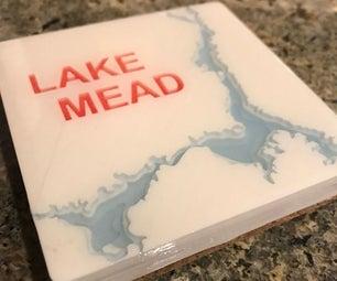 可自定义的地形三维印刷饮料杯垫
