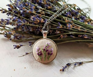 Lavender Field Embroidery Necklace
