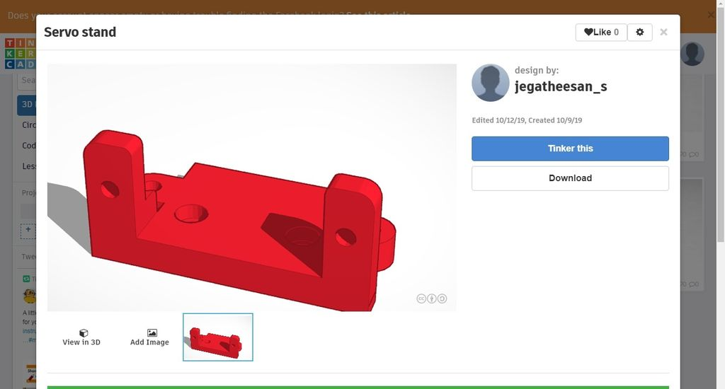 Picture of 3D Print Leg and Servo Holder