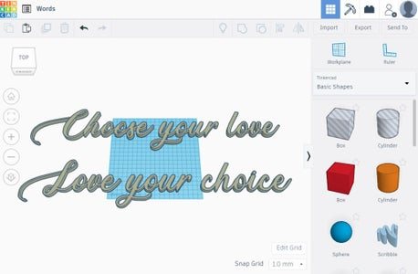 Converting and Importing the Words in TinkerCAD