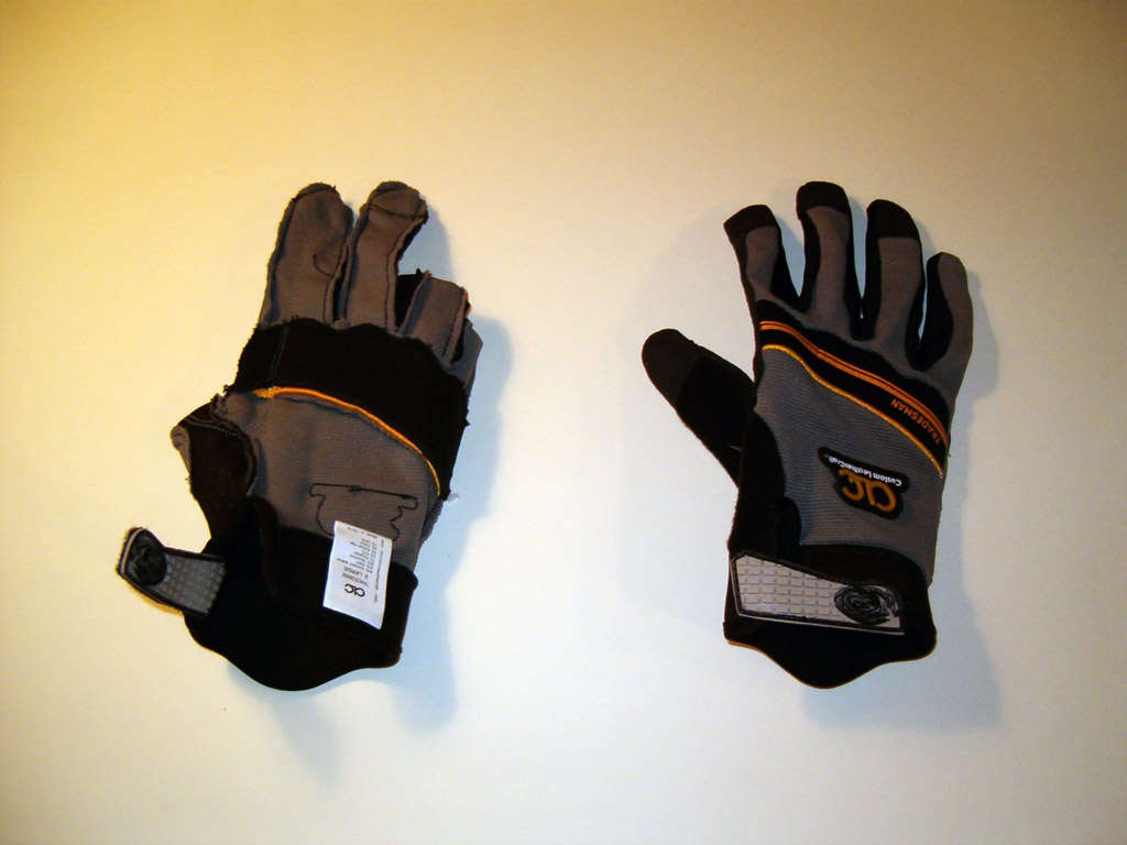 Picture of Turn Gloves Inside Out and Pick the Stitching Out of the Fingertips