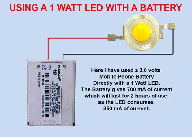 USING 1 WATT LED WITH BATTERY.