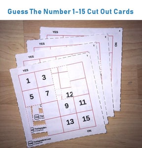 Guess the Number Yes/No Game Maths Cut-Out Cards (Number Grid 1-15 STEM)