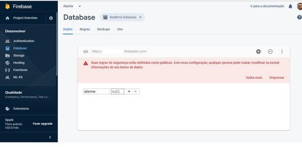 Firebase Passo 8 De 8:  Criar Entrada De Dados