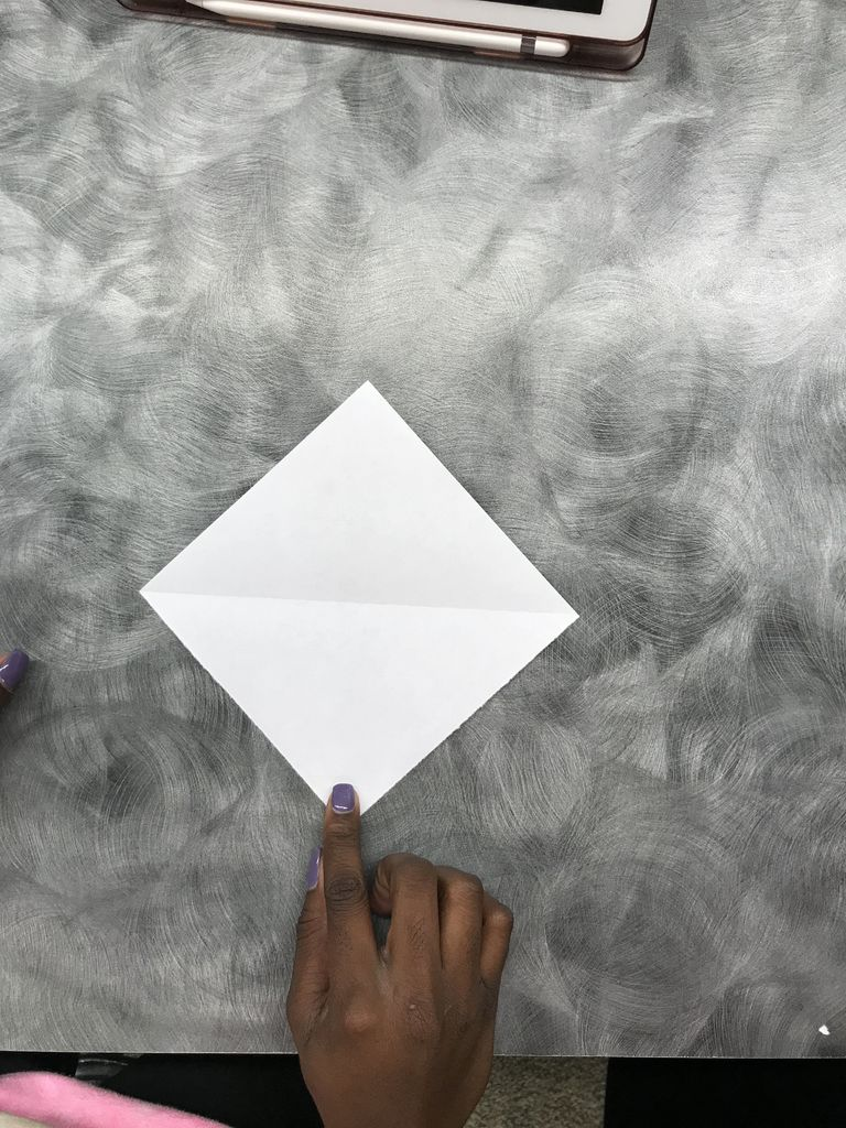 Picture of Step 5: You Should Have a Square.  Turn Paper to Look Like a Diamond.
