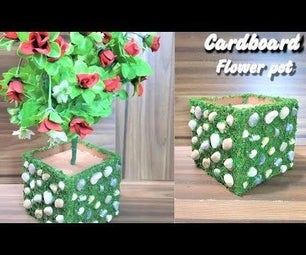 How to Make Flower Pot From Cardboard|Pebbles Cardboard Flower Pot|Easy Art & Craft DIY Flower Pot Tutorial