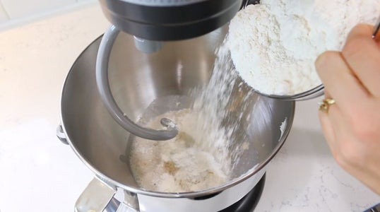 Add Paste, Yeast, Flour and Eggs