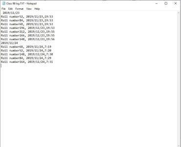 Data Written in the SD Card.