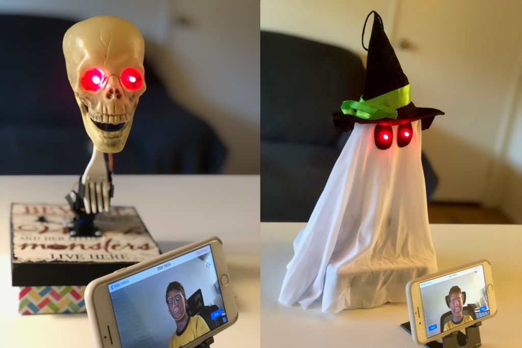 Face Tracking and Smile Detecting Halloween Robots