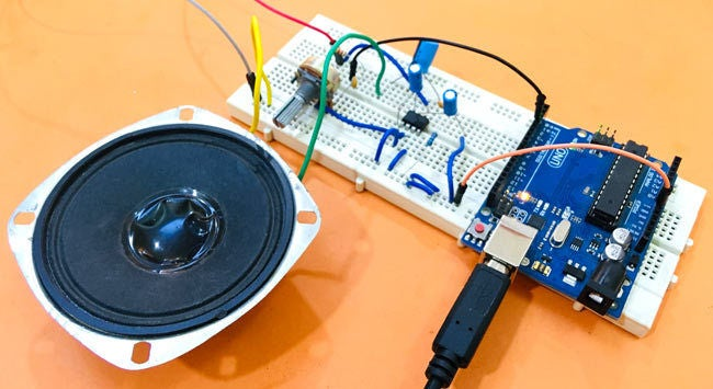 Picture of Arduino Text to Speech Converter Using LM386 | Talking Arduino Project | Talkie Arduino Library