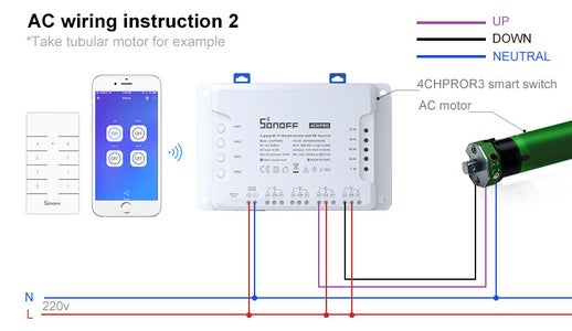How to Connect SONOFF 4CHPROR3 Smart Switch With the Blinds Motor?