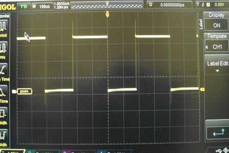 Showing Pulse Width Modulation (PWM) on the Oscilloscope.