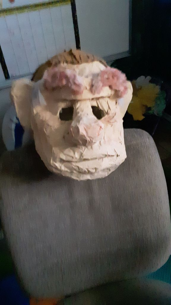 Picture of Final Steps for Making Hoggles Mask/Head Painting Process, Adding His Hat, and His Hair/eyebrows and Eyes