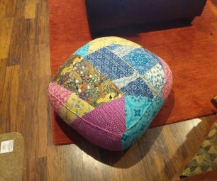Upcycled Patchwork Pouf