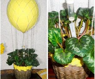 """""""热气球""""自动滴灌浇水系统的室内植物"""
