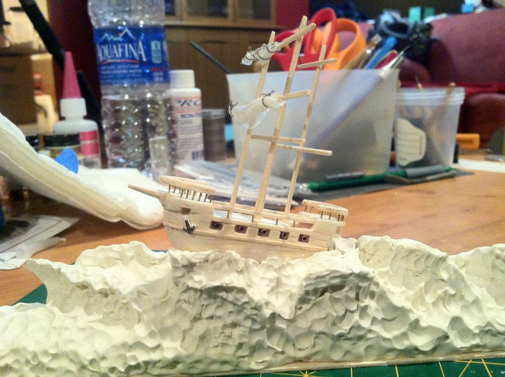 "Picture of Making a 2"" Long Galleon Out of Bass & Balsa Wood"