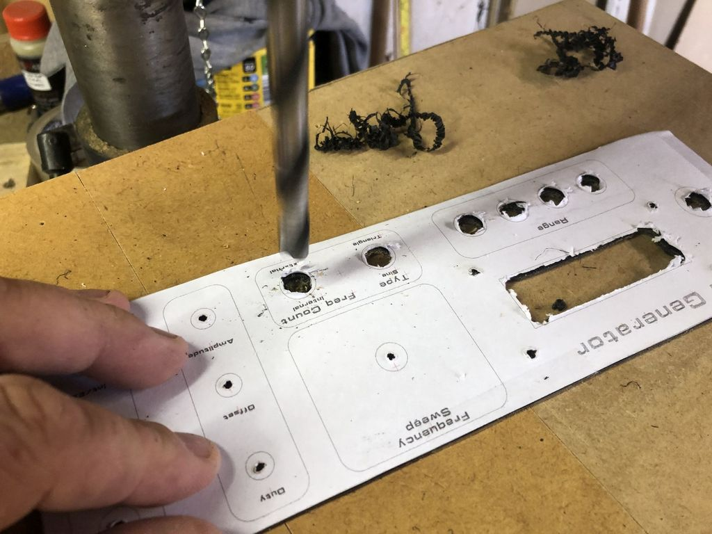 Picture of Attach Your Template, Drill and Shape the Front Panel