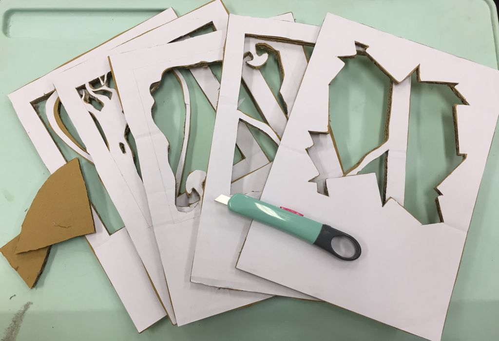 Picture of Stick the Papers on to Card Boards.