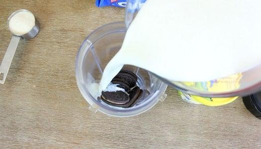 Add Oreos, Milk and Sugar to a Blender