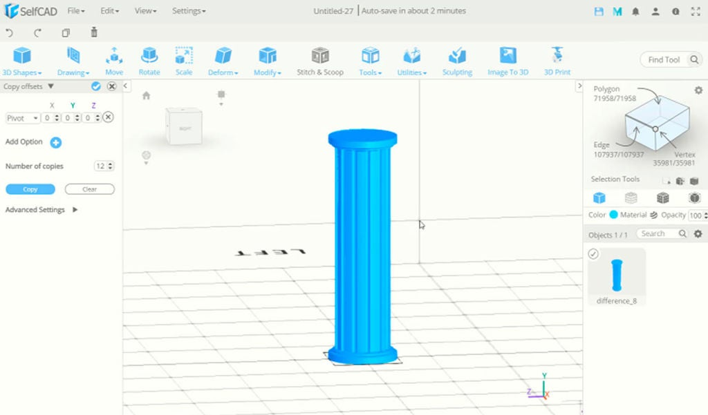 Picture of SelfCAD 3D Pillar With Extrusion