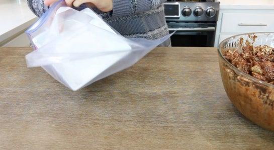 Add Powdered Sugar to Ziplock Bag